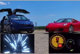 elektromos, f430, ferrari, gyorsulás, gyorsulási verseny, model x, p90d, tesla, videó