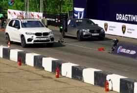 bmw x5 m, c63 amg, dragtimes, e63 amg, gyorsulási verseny, mercedes-benz, tuning, videó