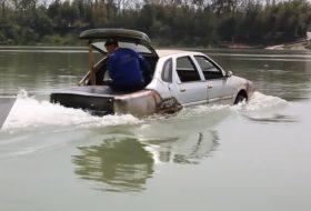 egyedi autó, hajó, kétéltű, kína, videó