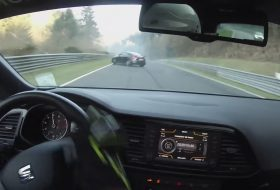 audi, nürburgring, olajfolt, seat, szalagkorlát, ütközés