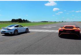 911 turbo s, aventador sv, gyorsulási verseny, porsche 911, új lamborghini, videó