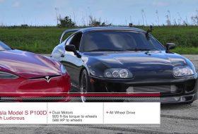 gyorsulási verseny, ludicrous, p100d, supra, tesla model s, toyota, videó