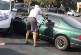 amerika, autóbaleset, automata autó, chrysler, parkolás