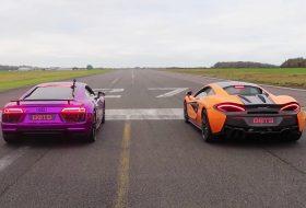 570s, autós videó, gyorsulási verseny, mclaren, r8 v10 plus, új audi r8