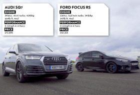 audi sq7, autós videó, focus rs, ford focus, gyorsulási verseny, hot hatch, suv, top gear