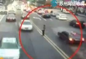 autó, baleset, kína