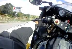 baleset, motorkerékpár, motoros, videó