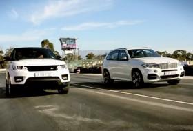 benzin, bmw, dízel, gyorsulási verseny, range rover sport, videó, x5 50d