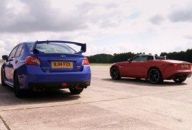 f-type, gyorsulási verseny, jaguar, subaru, videó, wrx sti