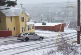 csúszásveszély, drift, ford, hó, jég, videó