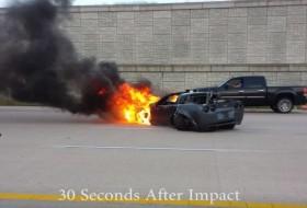 baleset, chevrolet, corvette, gyorsulási verseny, tűzeset, videó