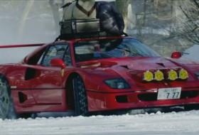drift, f40, ferrari, hó, tél