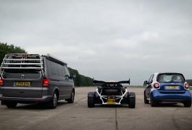 ariel atom, gyorsulási verseny, smart fortwo, top gear, transporter, videó, volkswagen