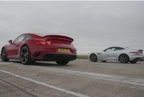 911 turbo s, f-type, gyorsulási verseny, jaguar, új porsche, videó
