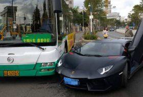 autóbusz, aventador, baleset, kína, új lamborghini