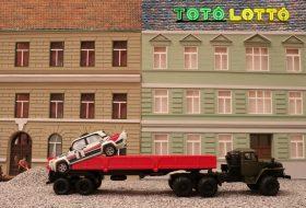 autós üldözés, modellautó, stop motion