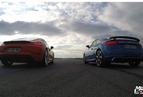 718 cayman, audi tt rs, gyorsulási verseny, porsche 718, új audi, videó