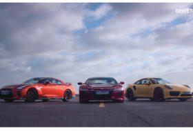 911 turbo, gyorsulási verseny, honda nsx, nissan gt-r, porsche 911, videó
