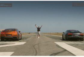 gyorsulási verseny, nissan gt-r, új audi r8, videó