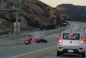 amerika, autópálya, baleset, motoros, videó