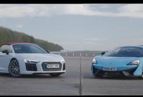 570s spider, autós videó, gyorsulási verseny, r8 v10 plus, új audi, új mclaren