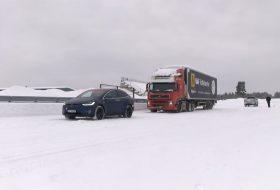 autós videó, kamion, kötélhúzás, model x, p90d, tesla