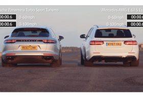 autós videó, e-osztály kombi, e63 amg, gyorsulási verseny, mercedes-amg, panamera shooting brake, panamera turbo, új panamera
