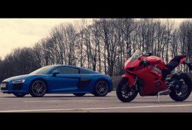 autós videó, ducati, gyorsulási verseny, motorkerékpár, új audi r8