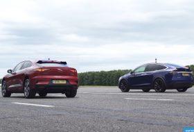 carwow, elektromos autó, gyorsulási verseny, jaguar i-pace, p100d, tesla model x