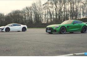 amg gt r, autós videó, gyorsulási verseny, hibrid, honda nsx, mercedes-amg