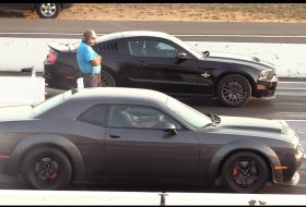 autós videó, dodge demon, ford mustang, gyorsulási verseny, shelby gt500, srt demon