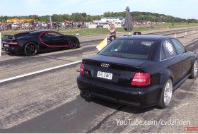 audi s4, autós videó, bugatti chiron, gyorsulási verseny, vicces