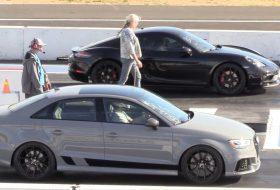 718 cayman, audi rs3, autós videó, gyorsulási verseny, porsche 718