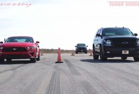 chevrolet, ford mustang, gyorsulási verseny, hennessey, tahoe suv, tuning