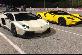 autós videó, aventador, dragtimes, gyorshajtás, gyorsulási verseny, új ford gt, új lamborghini