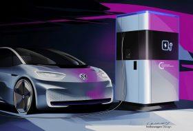 elektromos, fenntartható, gyorstöltő, mobil töltőállomás, töltőállomás, volkswagen