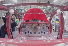 autógyártás, model 3, pov video, új tesla