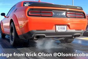 amerika, autóbaleset, autós videó, dodge challenger, dodge demon, gyorsulási verseny, izomautó