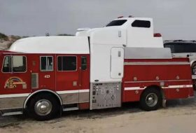 amerika, egyedi autó, lakókocsi, ritkaság, tűzoltóautó