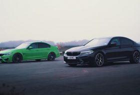 autós videó, bmw m3, bmw m5 competition, carwow, gyorshajtás, gyorsulási verseny