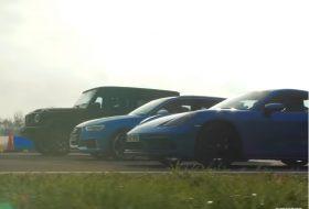 718 cayman, audi rs3, autós videó, G63, gyorsulási verseny, mercedes-amg, top gear, új porsche