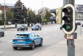 audi, közlekedési lámpa, zöld hullám