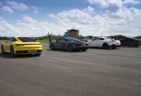 911 carrera, autós videó, bmw m8, carwow, gt-r nismo, gyorsulási verseny, m850i, nissan gt-r, porsche 911, r8 v10 plus, új audi r8
