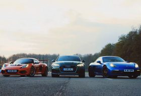 718 cayman, audi rs5, autós videó, exige cup 430, gyorsulási verseny, lotus exige, porsche 718, top gear
