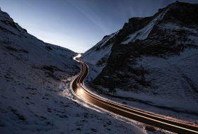 autózás, baleset, ősz, sötétség, szürkület, tél, világítás