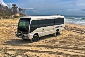 bus 4x4, coaster, coaster beach master, land cruiser, toyota
